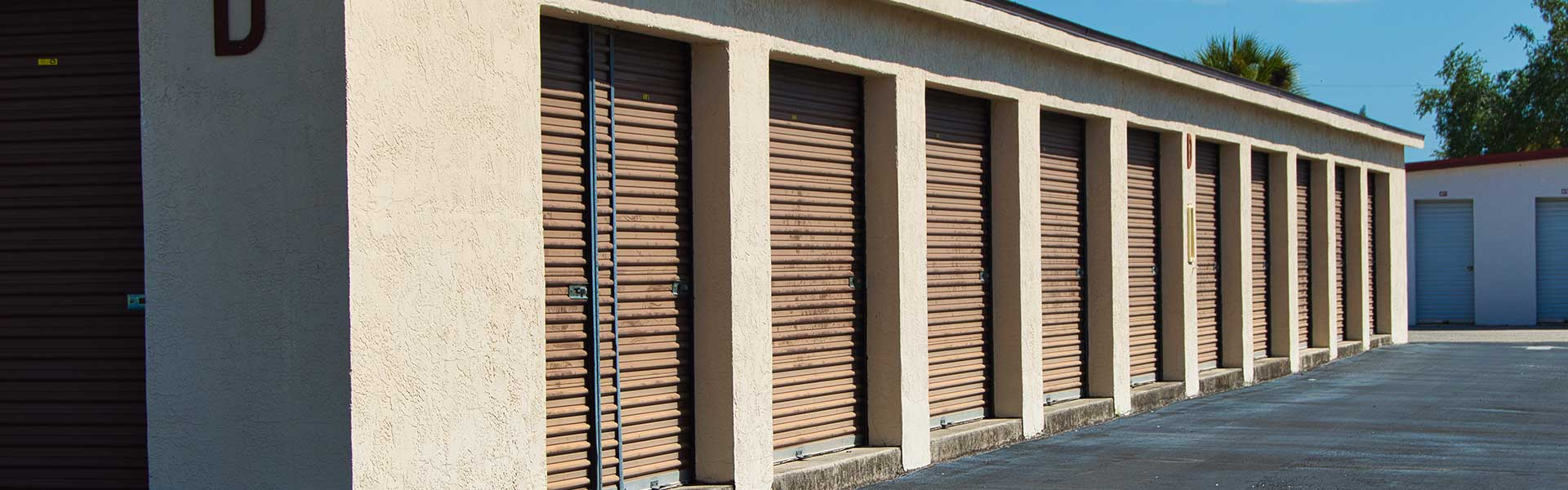 This is a photo of a row of self storage units